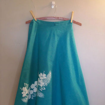 1970s Teal wrap skirt by cashmerevintage on Etsy
