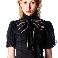 Lip Service Bones Bow Lolita Blouse Black