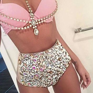 Bohemian  Vikinii Crystal Swimwear Women Bathing Suit Rhinestone Diamond Luxury High Waist Swimsuit Women Push Up Bikini Set