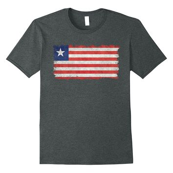 Flag of Liberia T-Shirt in Vintage Retro Style