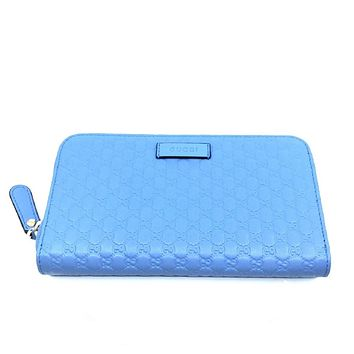 Gucci Womens Mineral Blue Microguccissima GG Zip Leather Wallet  449391