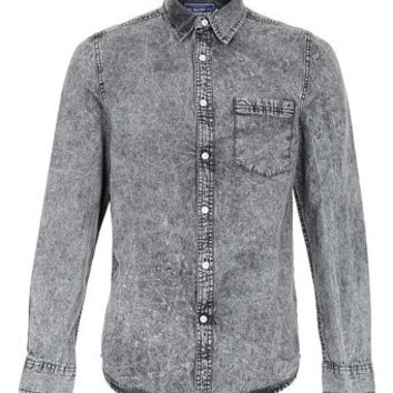 Black Acid Wash Long Sleeve Denim Shirt - Men's Shirts  - Clothing