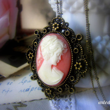 Cameo Necklace Romantic Pink White Lady Cameo Vintage Style Antique Jewelry Romantic necklace pendant - A Lady's Portrait