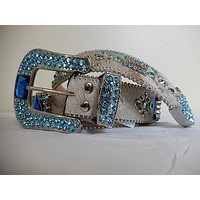 "B.B. Simon ""Sky Blue"" Swarovski Crystal Pony Hair Belt"
