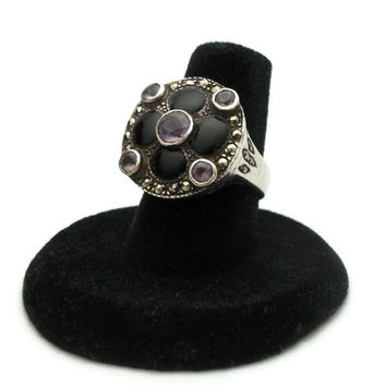 Sterling Silver Genuine Amethyst Ring with Black Onyx Stone Inlay and Marcasites - Size 7 Vintage Artisan Jewelry Stamped 925 Filigree