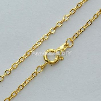 """100Strands Brass Necklace Chain Jewelry Findings with Iron Findings, Golden Silver Platinum Color, about 2mm wide, 18"""""""