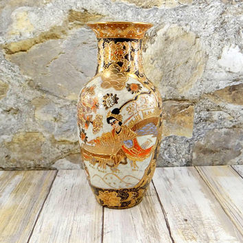 Vintage Satsuma Moriage Vase, Hand Painted with Heavy Gold Gilt, Moriage