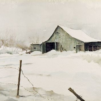 Barn in Winter by Gordon Morrison Watercolor Painting
