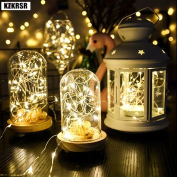 2M Battery Copper Silver Wire LED Christmas lights AA battery Powered  Christmas Tree Lights string lights for Wedding holiday