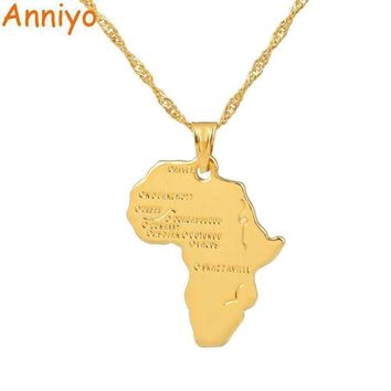Anniyo 9 Style Africa Map Pendant Necklace for Women/Men Silver/Gold Color Ethiopian Jewelry  5.00% Off Auto renew