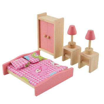 New Baby toys Kids Play Pretend Toy Design Wooden Doll Bathroom Furniture Dollhouse Miniature toy Children gifts