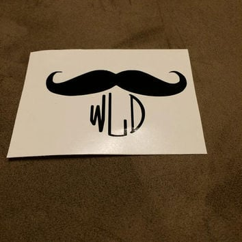 Mustache Monogram Window Decal Monogrammed Mustache Car Decal