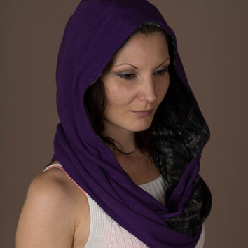 Scarf, Hooded Scarf,Hood Scarf,Reversible Infinity Hoodie,Hooded Cowl,Hooded Shawl,Scarves For Women,Purple Fabric,Fashion Accessories