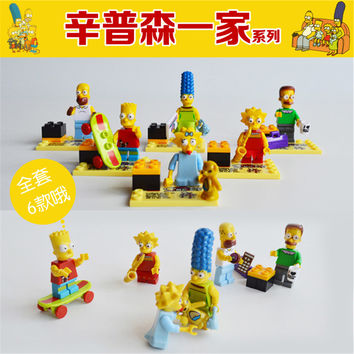 The Simpsons Bart Homer Princess Girls Friends Minifigure Action Figures Building Block Bricks SY256 Kids Toys