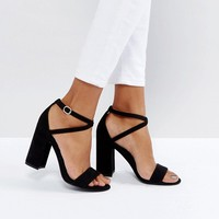 New Look PU Block Heel 2 Part Sandal at asos.com
