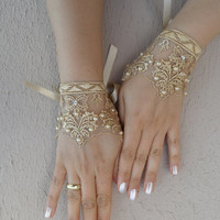 caramel lace glove,Lace cuff,  Wedding gloves bridal gloves fingerless lace gloves beaded pearl and rhinestone free ship