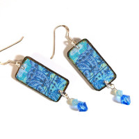 Blue Earrings Decoupaged with Swarovski Crystal  Drops by rrizzart