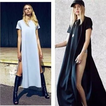 Gypsy Gladiator Goth Punk Sexy Split Open Side Cut Out Long Maxi T Shirt Party Casual Dress tunic vestidos