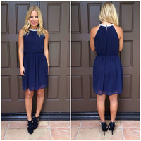 Precious As A Pearl Dress - NAVY