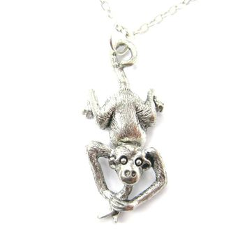 Realistic Monkey With A Banana Shaped Dangling Animal Charm Necklace | MADE IN USA