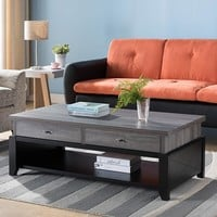 Wooden Coffee Table With 2 Drawers, Distressed Gray And Black