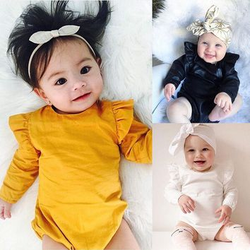 Long Sleeve Solid Color Ruffles Sleeve Baby Kids Rompers Kids Home Wear Sleep Wear Basic Clothing For Kids