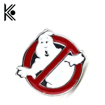 Movie Ghostbusters Logo Red Enamel Movie Jewelry Metal Brooches For Men Women Clothing Accessory