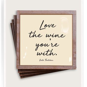 Love The Wine You're With Copper & Glass Coasters, Set of 4