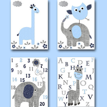 Navy Blue Grey Elephant Decor Giraffe Decor for Nursery Canvas Giraffe Alaphabet Elephant Numbers Baby Boy Wall Art Baby Room Decor set of 4