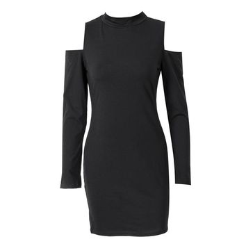2018 Fashion Women's Solid Dresses Sexy Hollow Out Long Sleeve Turtle Neck Bodycon Strechy Party Vestidos Autumn Clothings
