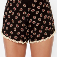 Crossing Garden Black Floral Print Shorts