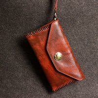 Leather men long wallet clutch brown strip phone vintage clutch men pu | EverHandmade