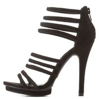 Black Strappy Caged Heels by Charlotte Russe