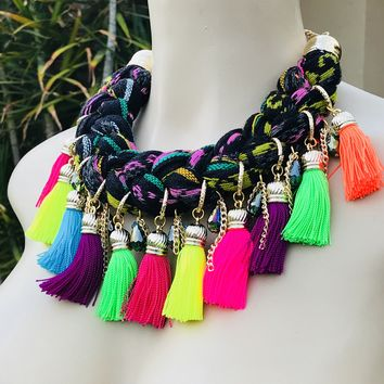 Mexican Braided Serape Necklace Black