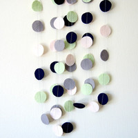 Pale Circle Felt Garland - Wedding decoration, Felt garland banner, Garden party, dark blue, mint green, pale pink