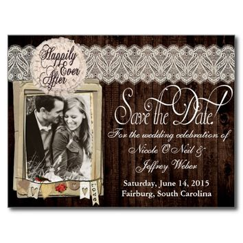 Country Rustic Photo Save the Date Wedding Card Postcard