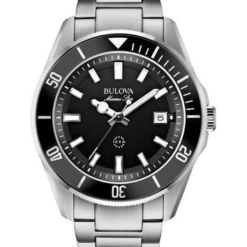Bulova  Mens Marine Star - Black Dial - Rotating Bezel - Date Display - Bracelet
