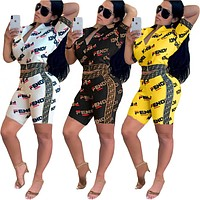 FENDI Fashion Women Casual Print Zipper Top Shorts Set Two-Piece