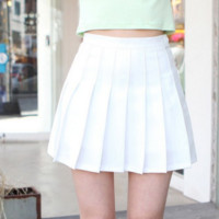 The new high waist was thin skirt college wind a word pleated skirt tennis skirt woman White