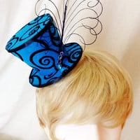 Blue and black feathered mini top hat fascinator