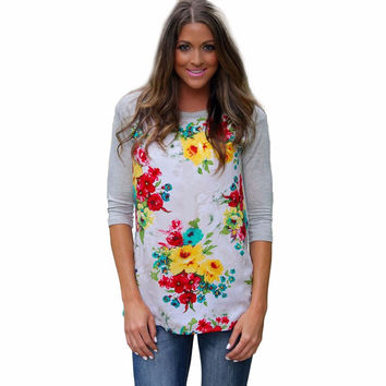 Women Long Sleeve Floral Printing Patterns Tops Casual Round Neck Tops Shirt Blouse Blusas feminina INY66