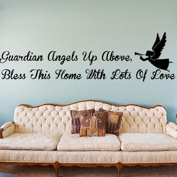 Guardian Angels Up Above, Bless This Home With Lots Of Love Wall Decal | Angel Home Decor | Living Room Decor