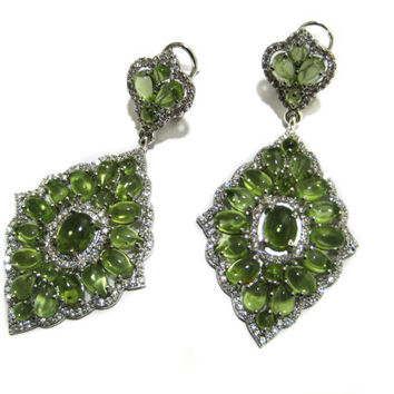 Rhodium Plated 925 Sterling Silver Earrings setted Peridot Gemstone Cabochons & Cubic Zircona Ear Jewelry Beautiful wedding Gift for her