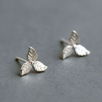 Silver Three Tree Leaf Stud Earrings, Sterling Silver Leaf Earrings,silver stud earrings,gift for her,simple earrings,Leaf jewelry