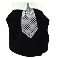 Black Dog Jacket with Collar and Tie