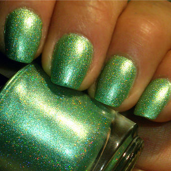 """Green Holographic Nail Polish - NEW -  """"MESA VERDE"""" - Hand Blended Nail Lacquer- Spectraflair - 0.5 oz Full Sized Bottle"""