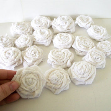 Onestitchdesigns on etsy on wanelo rolled rose off white recycled fabric flowers 6 2 cotton rosette appliques handmade embellishment mightylinksfo Images