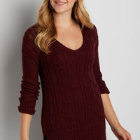 cable knit pullover tunic sweater in mulberry | maurices