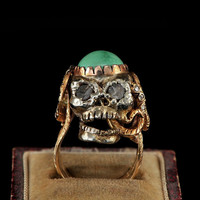 Glamorous him or her memento mori huggie skull and snake diamond ring