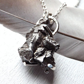 small meteorite necklace, mens necklace meteorite, genuine meteorite stone, mens crystal pendant, stellar necklace space men necklace silver